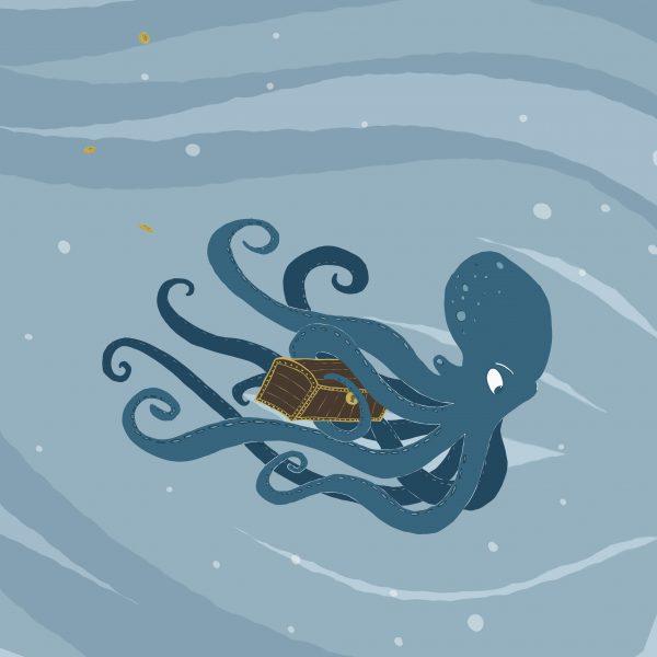 Octopus stealing treasure