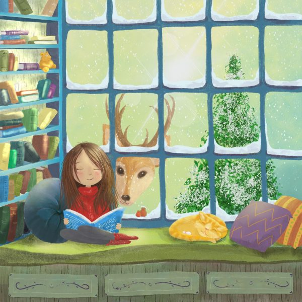 Reading in the book nook
