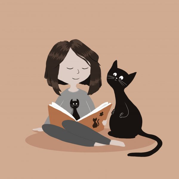 new cat and booksReading with friends