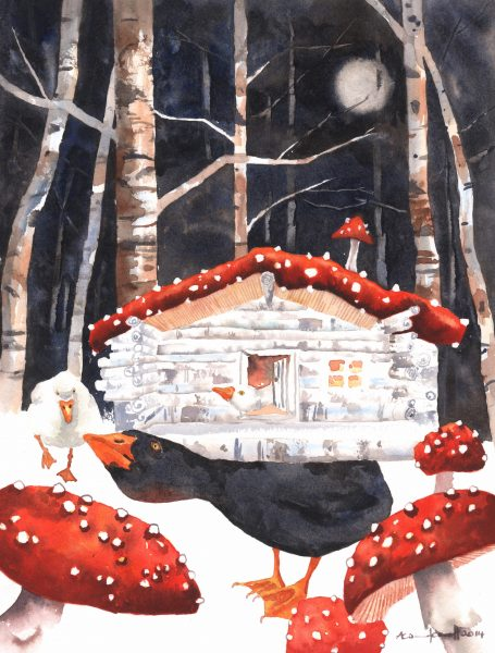 Mushroom Forest with Goose and Log Cabin