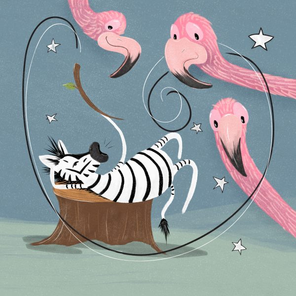 Zebra and flamingos