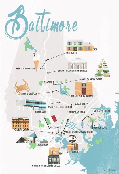 Baltimore Illustrated Map by Mel Smith Designs