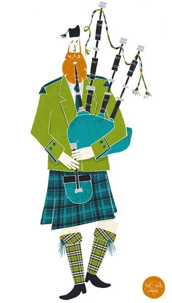 Scottish Bagpiper by Mel Smith Designs
