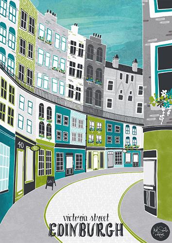 Victoria Street in Edinburgh by Mel Smith Designs