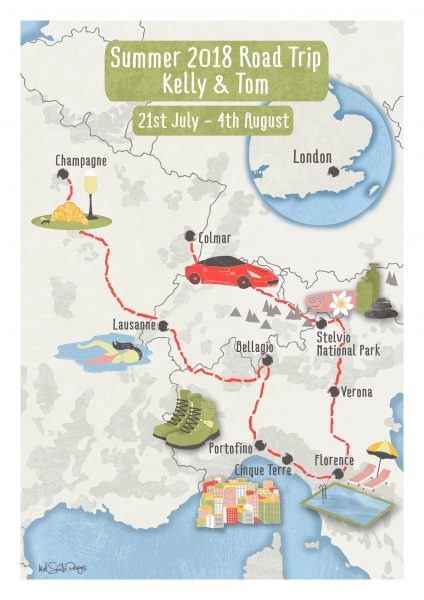 European Road Trip Map by Mel Smith Designs