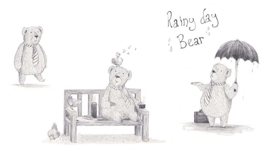 Rainy Day Bear character drawings
