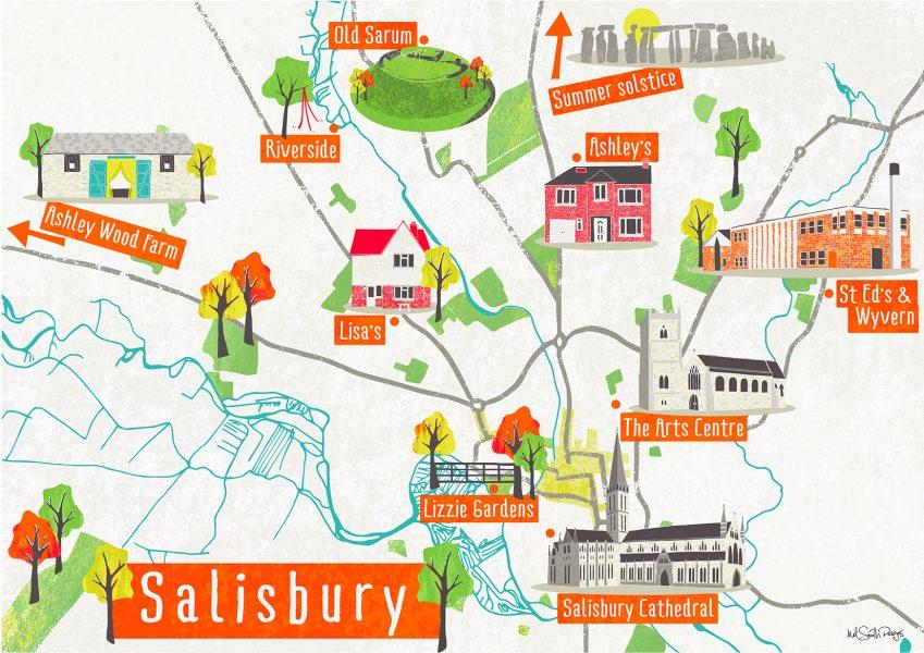Salisbury Map by Mel Smith Designs