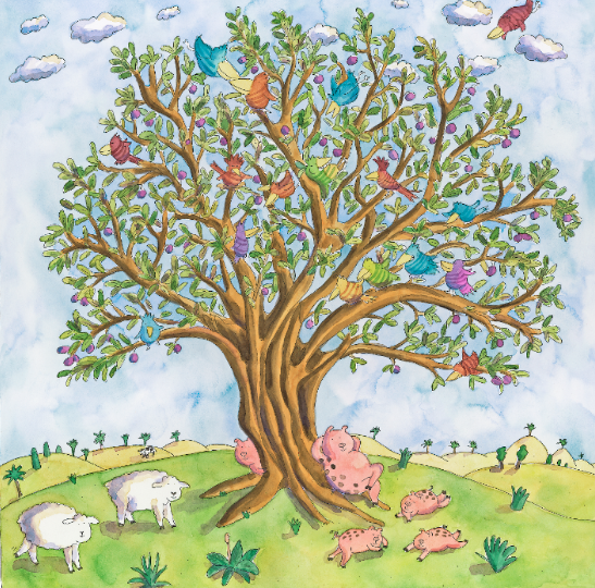 Pigs Under a Tree