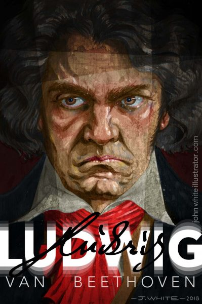 Ludwig Van Beethoven book-cover illustration