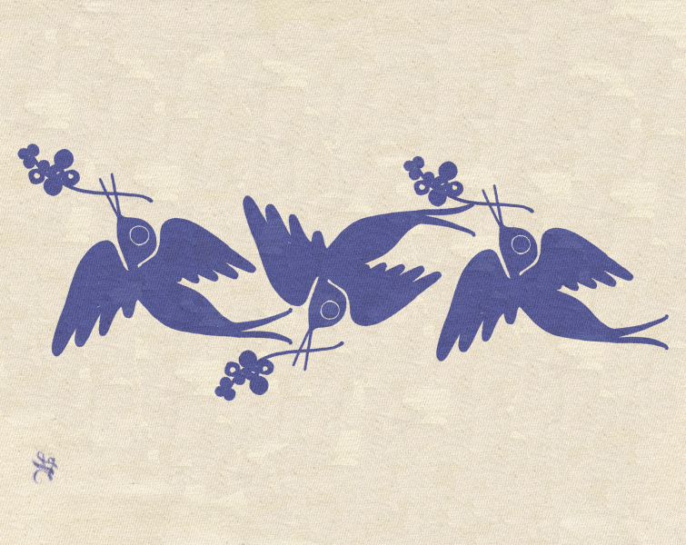 Screenprinted Swallows