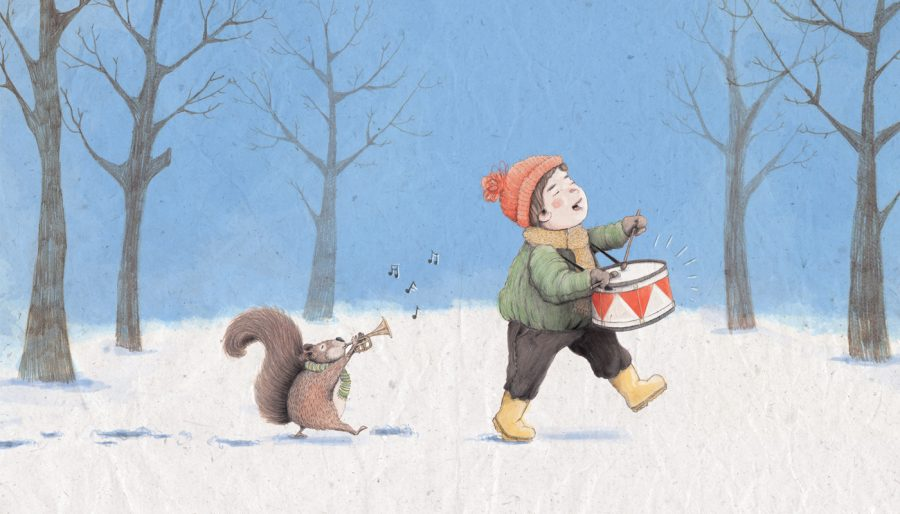 Boy and Squirrel music Christmas card