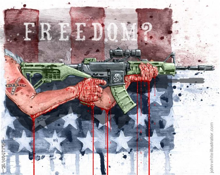 Editorial/Book-style piece on gun control (Pencil, goauche, acrylic, ink, board, digital)