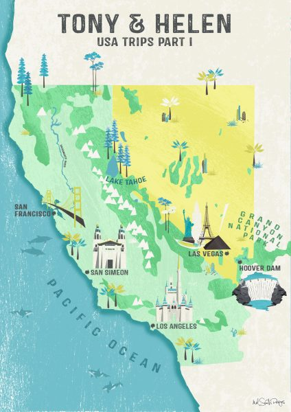 California and Nevada Map by Mel Smith Designs