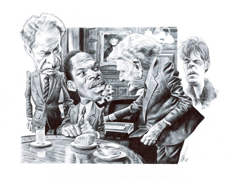 Trading places caricature