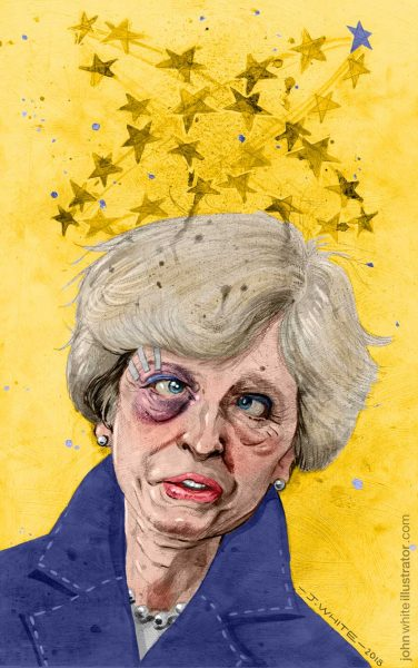 'A No Deal Brexit Looms' Sunday Independent (Pencil, gouache, ink on board, and digital)