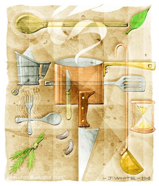 Editorial/book-style piece based on cooking (pencil, gouache, ink, board, digital)