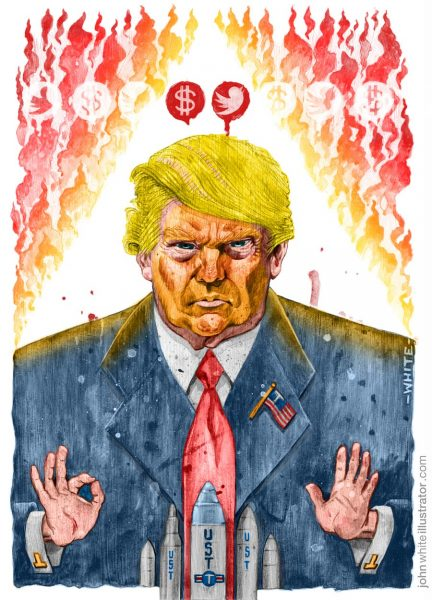 'Trump: the World Burns' editorial-style illustration