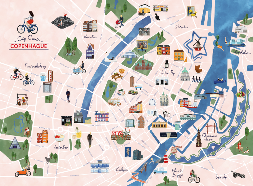 Copenhagen City Guide Illustrated Map