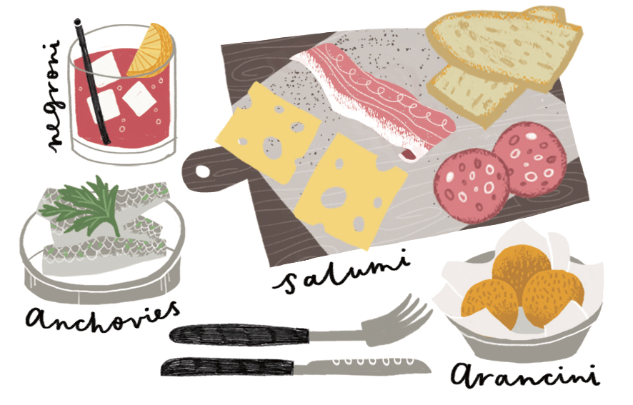 Food illustrations for Qantas inflight magazine