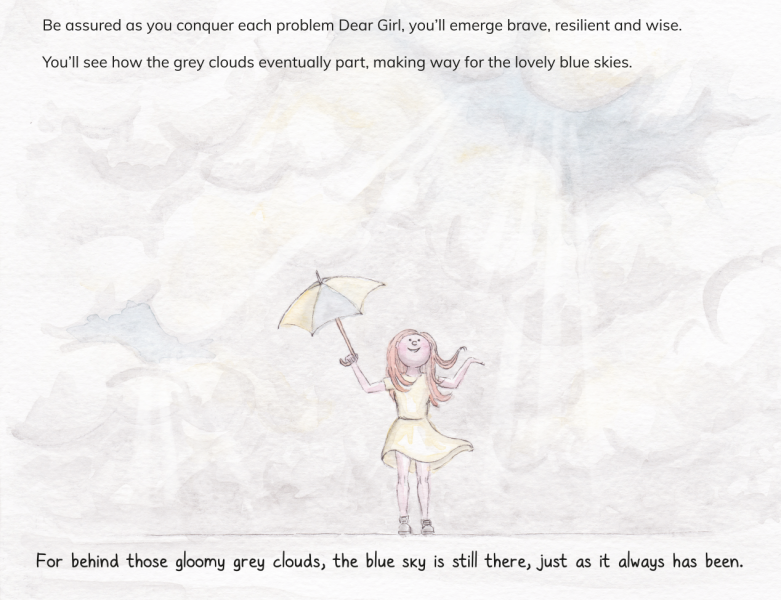 Rainclouds - An illustration from the book ' Reach for the Stars' Dear Girl'