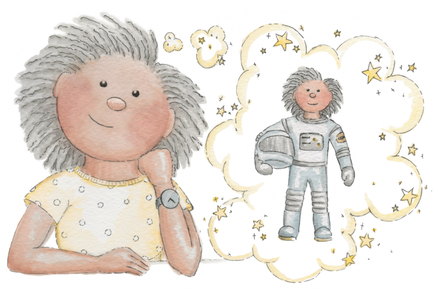 Dream Big - An illustration from the book ' Reach for the Stars' Dear Girl'
