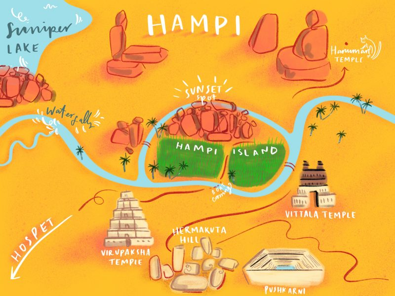 Hampi, India - illustrated map.