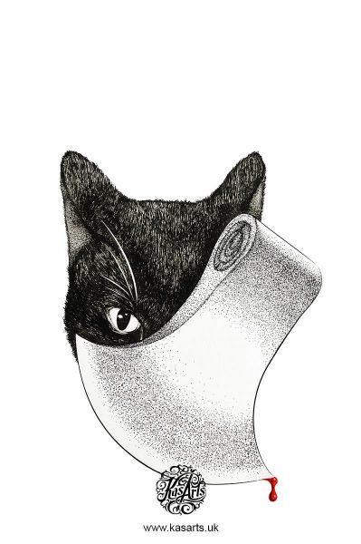 black-cat-book-cover-ink-drawing-poe-kasarts