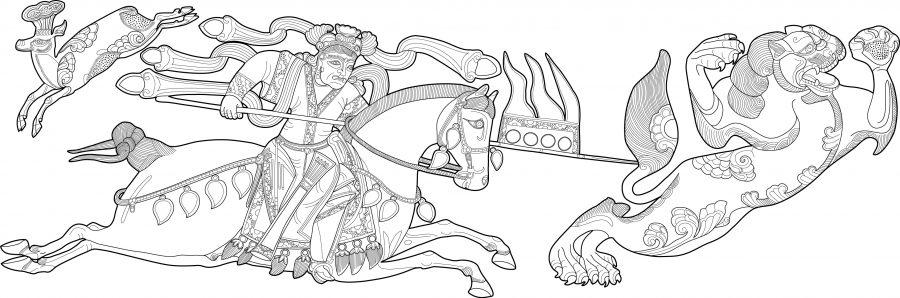 digital illustration - lion hunt