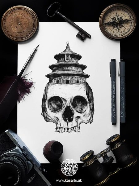 inktober-2018-skull-architecture-china-kasarts