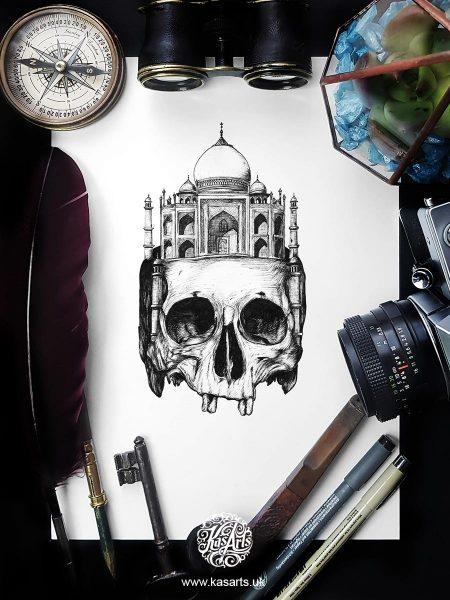 inktober-2018-skull-architecture-india-kasarts