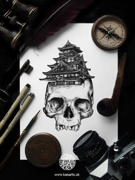 inktober-2018-skull-architecture-japan-kasarts
