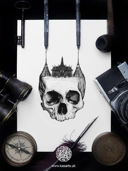 inktober-2018-skull-architecture-thailand-kasarts