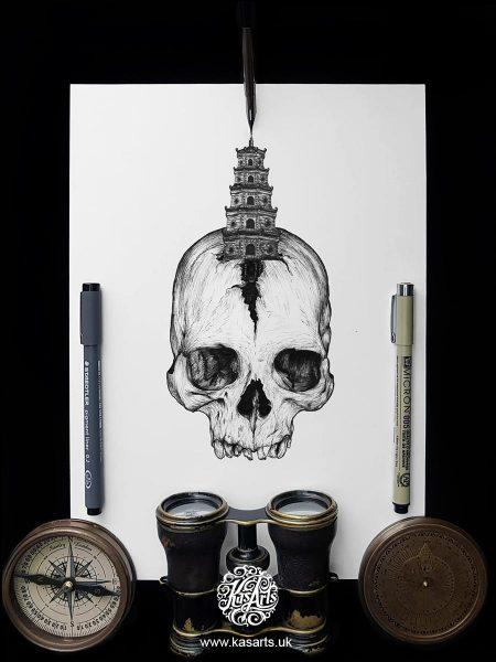 inktober-2018-skull-architecture-vietnam-kasarts
