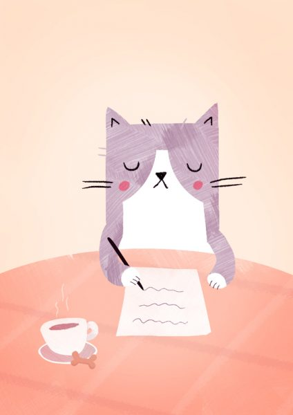 letter writing cat