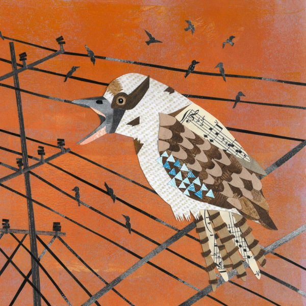 Kookaburra in collage by Ruth Waters