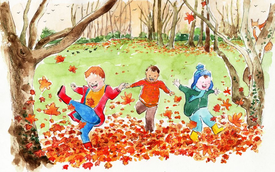 boys skip autumn leaves