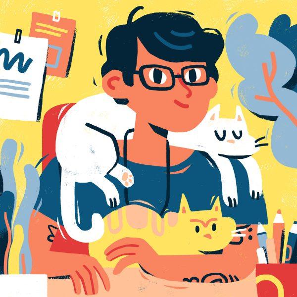 Self portrait with cats - portrait illustration