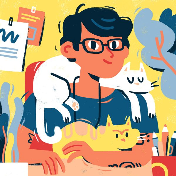 Self portrait with cats - portrait illustration