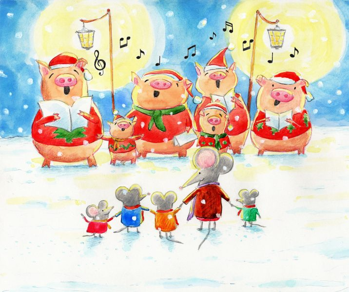 Christmas singing pigs