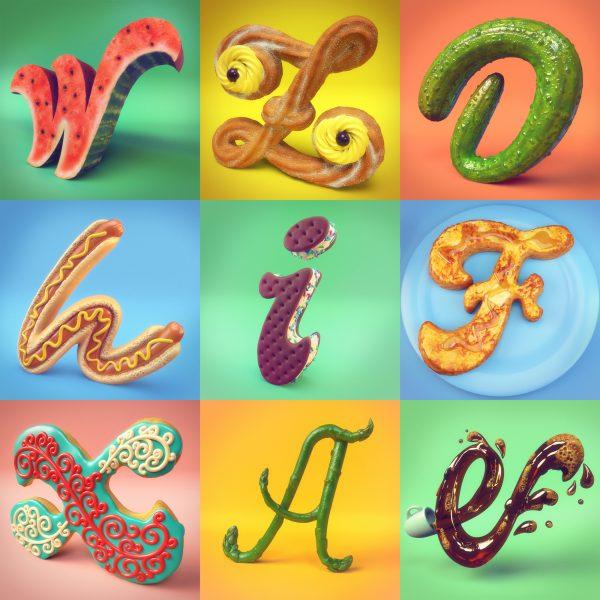 26 Days of Food 3D Alphabet