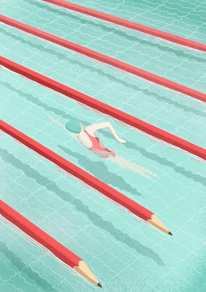 Swimming on art