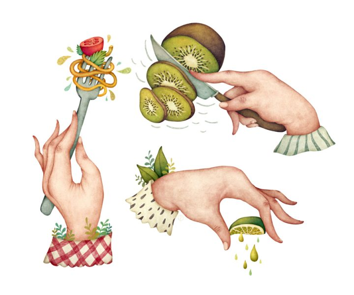 Hands and Food, Food Illustration