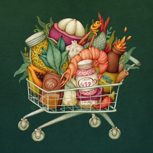 Shopping Cart - Food Illustration