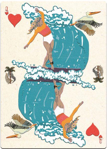 Surfer Leah Dawson. Poker Cards.