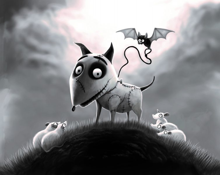 Frankenbat walking Sparky by AngBellArt 2020