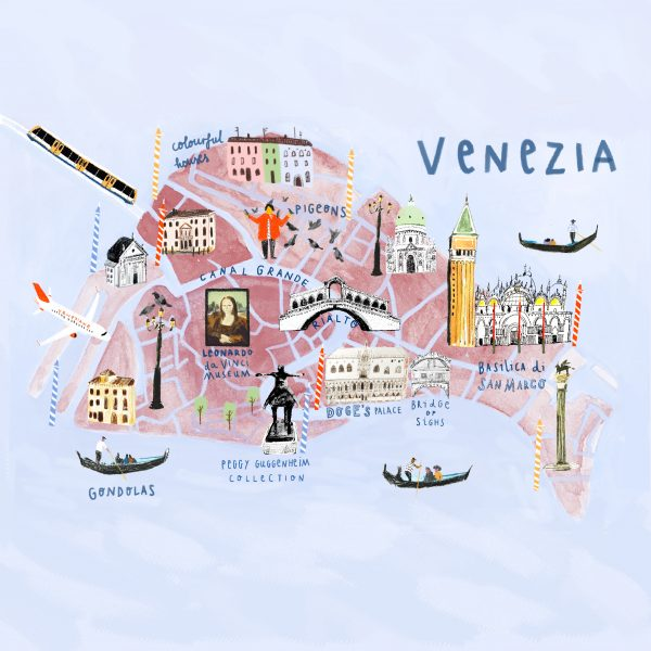 An illustrated map of Venice