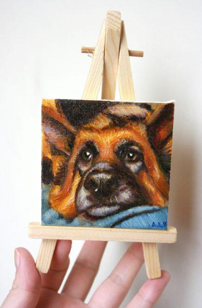 Mini oil dog portrait