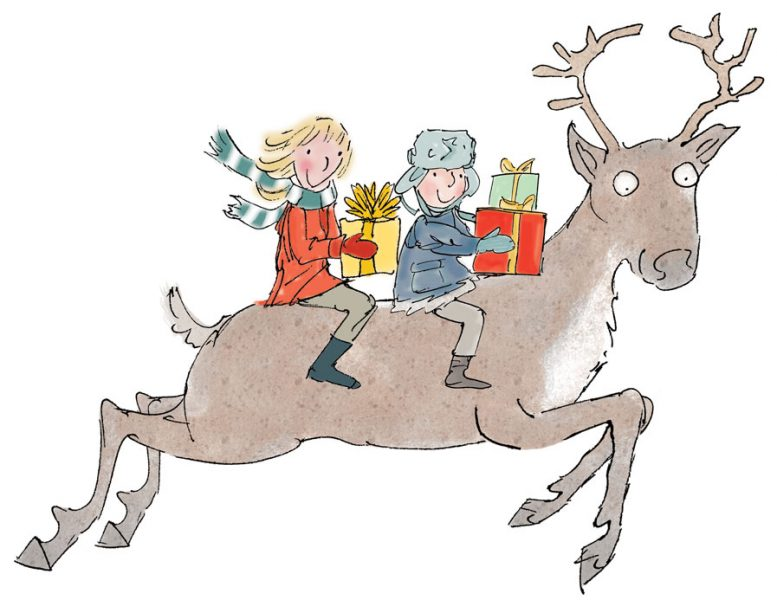 Reindeer with children holding gifts