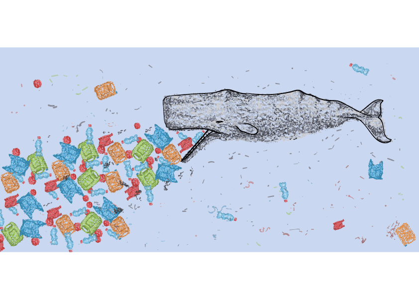 whale eating plastic