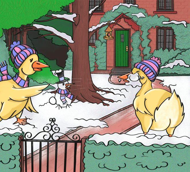 Duck snowball fight